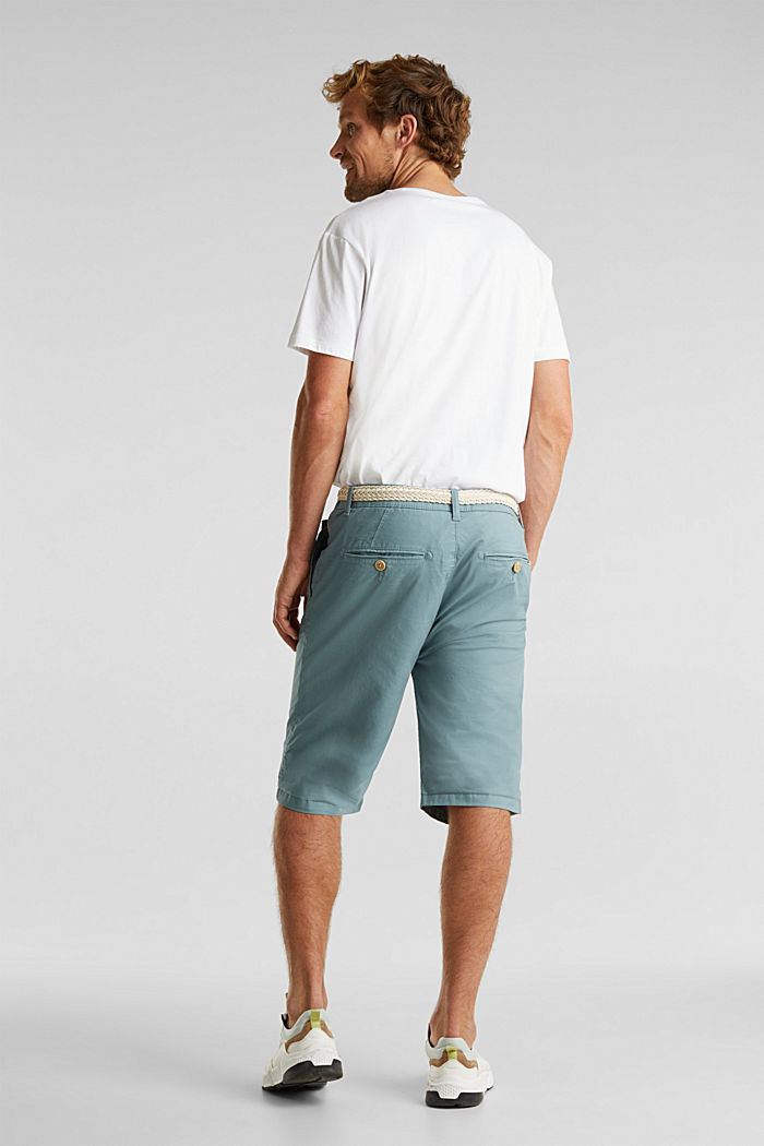 Stretch cotton shorts with a belt, TEAL GREEN, detail image number 2