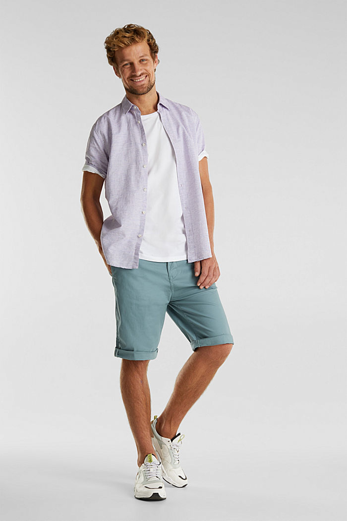 Stretch cotton shorts with a belt, TEAL GREEN, detail image number 1