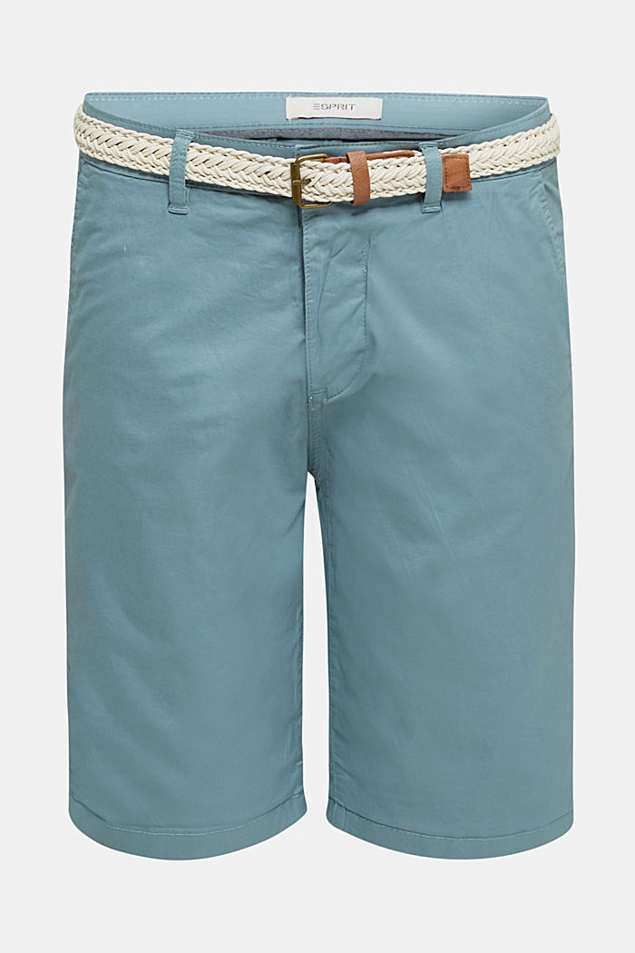 Stretch cotton shorts with a belt, TEAL GREEN, detail image number 5