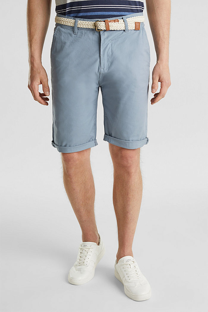 Stretch cotton shorts with a belt, GREY BLUE, detail image number 0