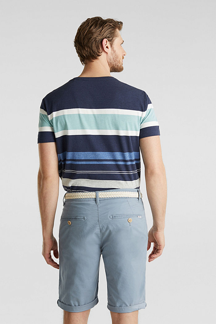 Stretch cotton shorts with a belt, GREY BLUE, detail image number 3