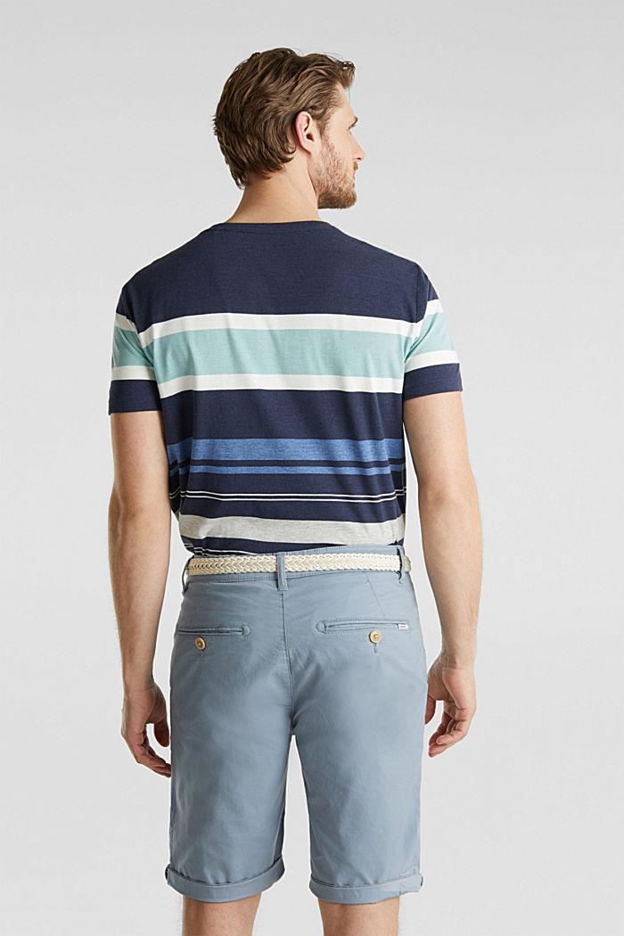 Szorty z elastycznej bawełny z paskiem, GREY BLUE, detail image number 3