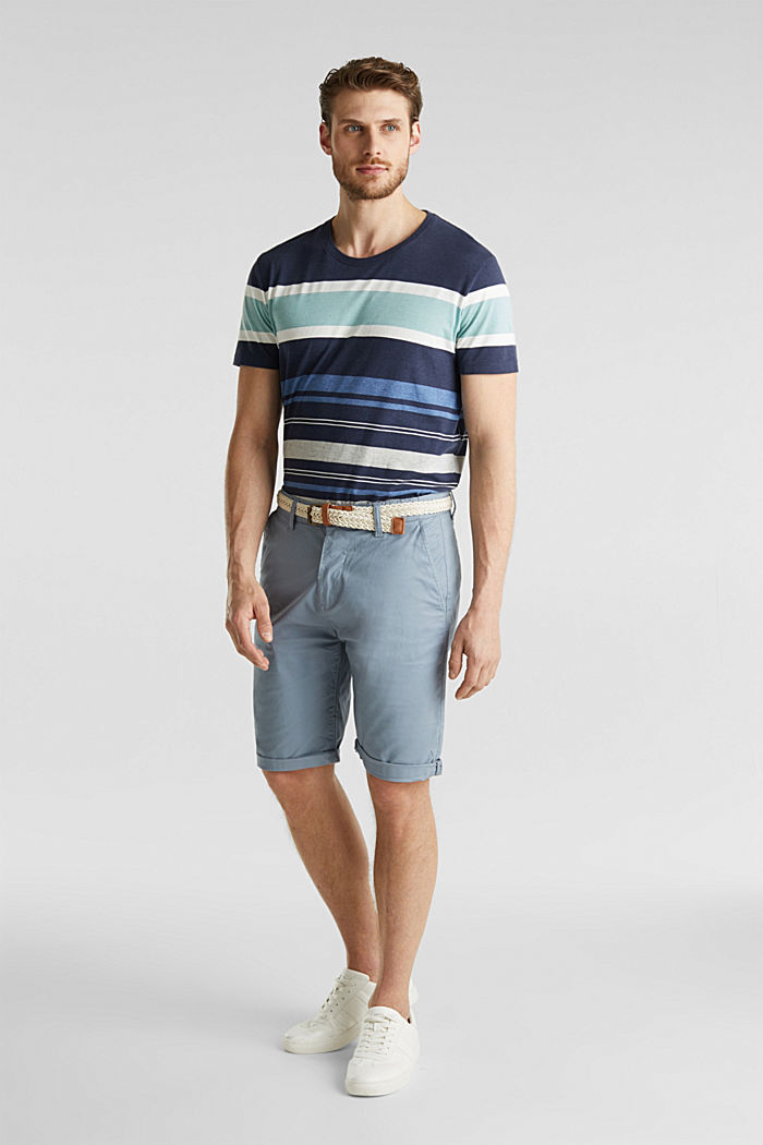 Stretch cotton shorts with a belt, GREY BLUE, detail image number 6