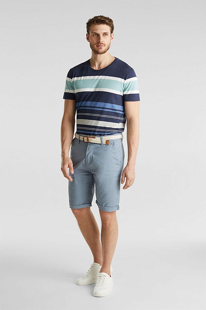 Szorty z elastycznej bawełny z paskiem, GREY BLUE, detail image number 6