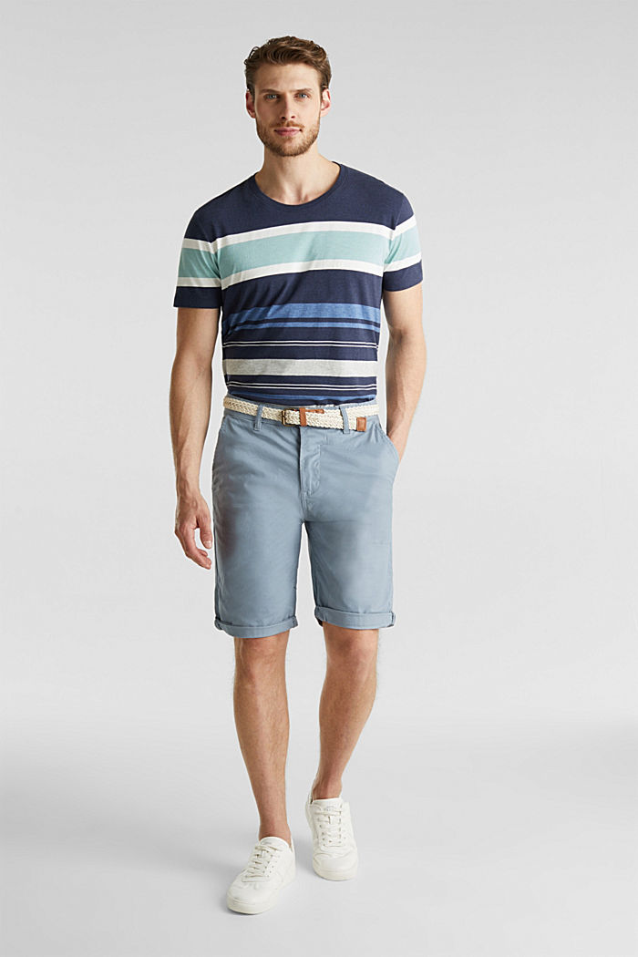 Stretch cotton shorts with a belt, GREY BLUE, detail image number 1
