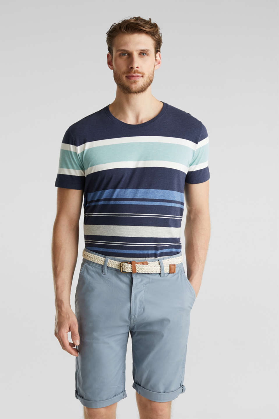 Stretch cotton shorts with a belt, GREY BLUE, detail image number 7