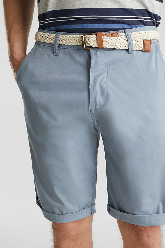 Stretch cotton shorts with a belt, GREY BLUE, detail image number 2