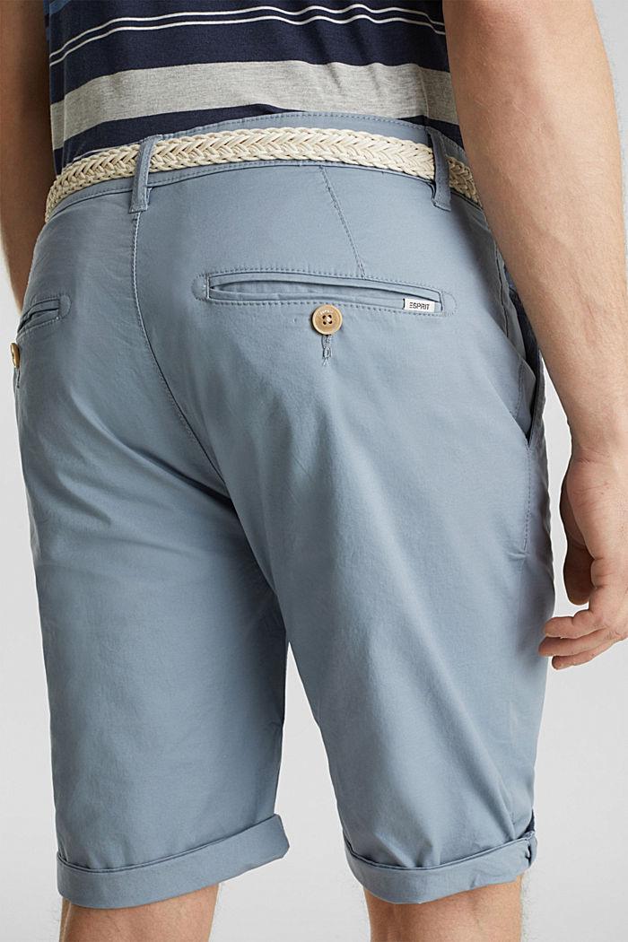 Szorty z elastycznej bawełny z paskiem, GREY BLUE, detail image number 5