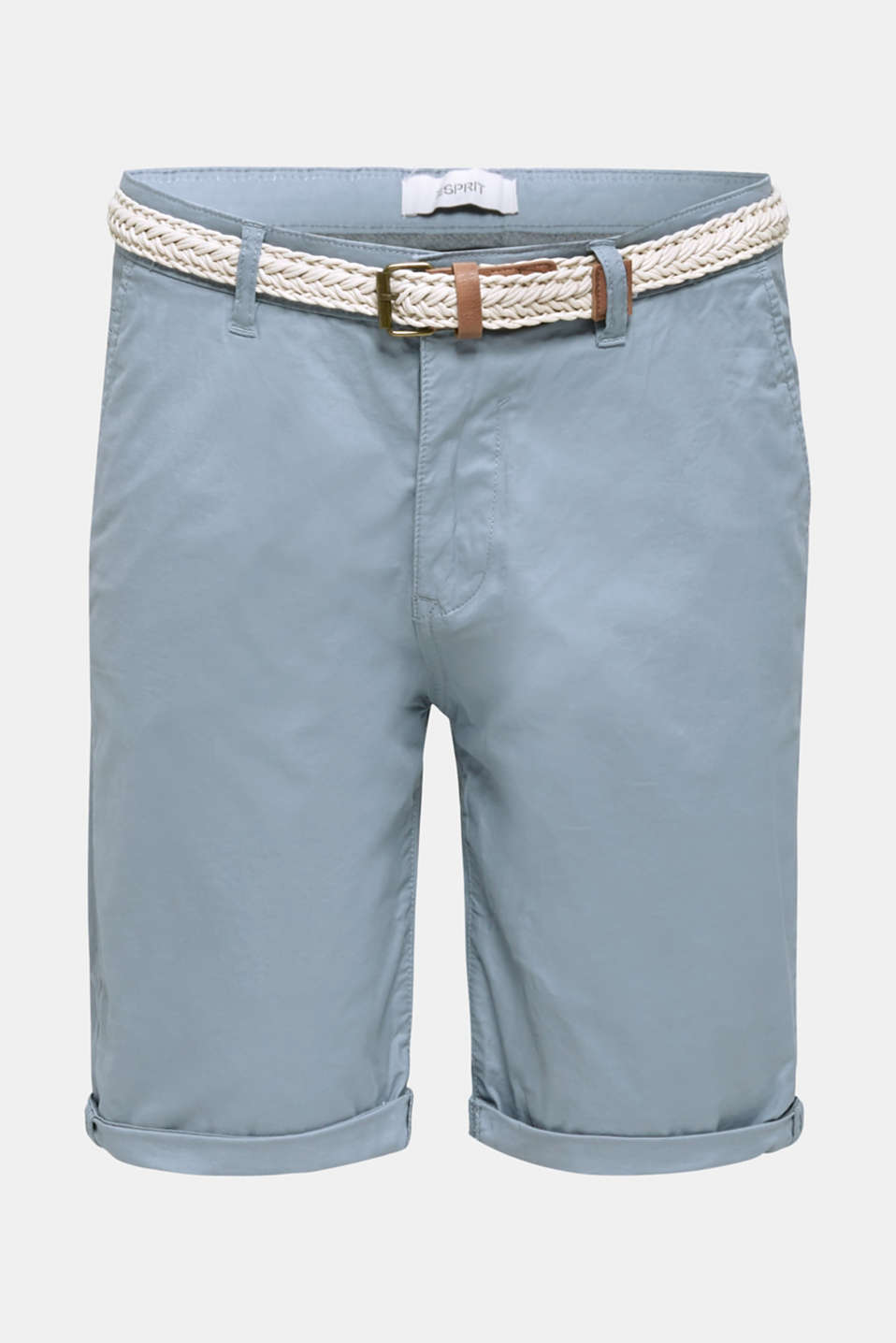 Stretch cotton shorts with a belt, GREY BLUE, detail image number 8