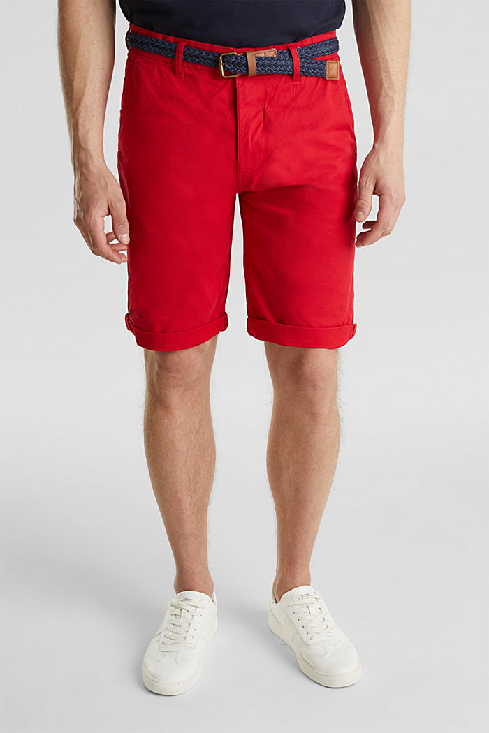 Stretch cotton shorts with a belt, RED, detail image number 0