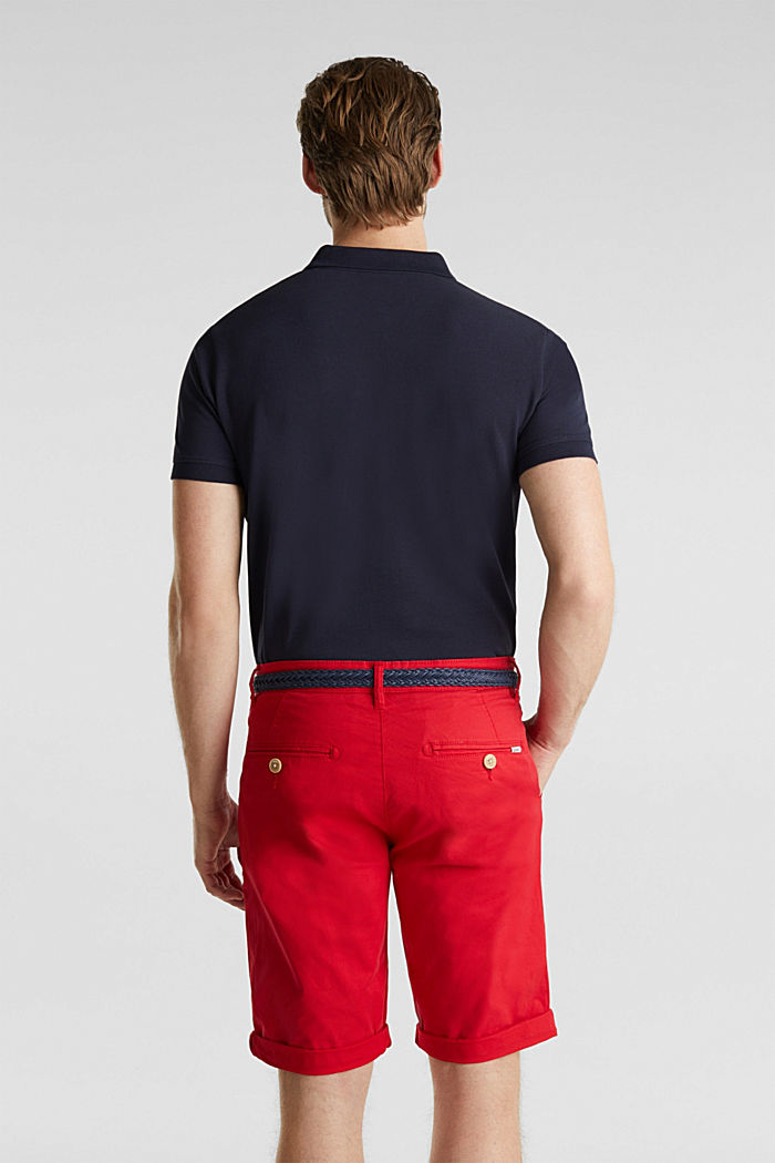 Stretch cotton shorts with a belt, RED, detail image number 3