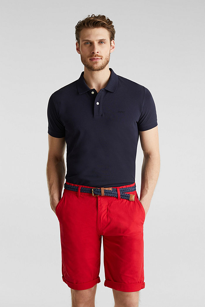 Stretch cotton shorts with a belt, RED, detail image number 6