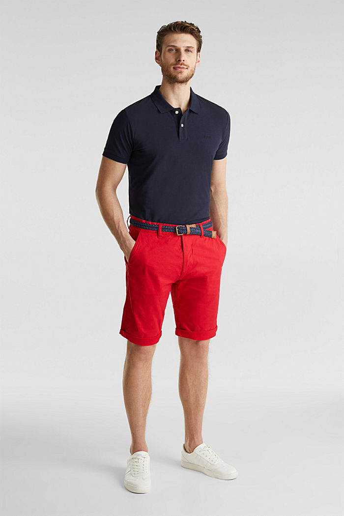 Stretch cotton shorts with a belt, RED, detail image number 1