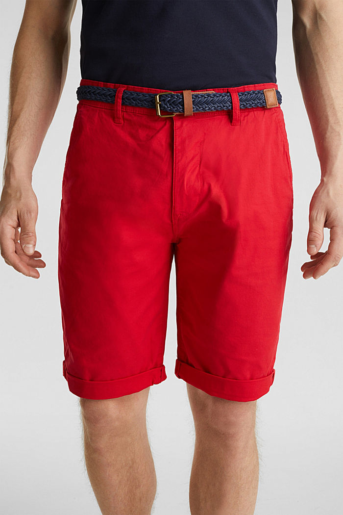 Stretch cotton shorts with a belt, RED, detail image number 2
