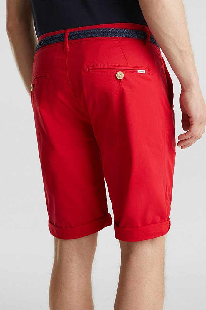 Stretch cotton shorts with a belt, RED, detail image number 5