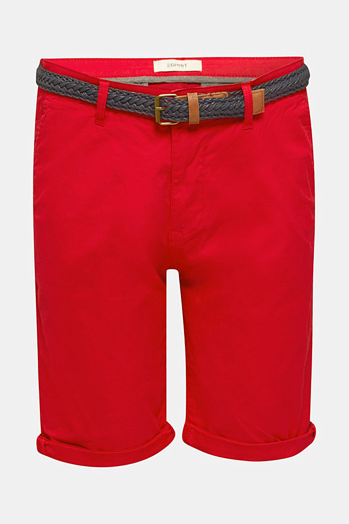 Stretch cotton shorts with a belt, RED, detail image number 7