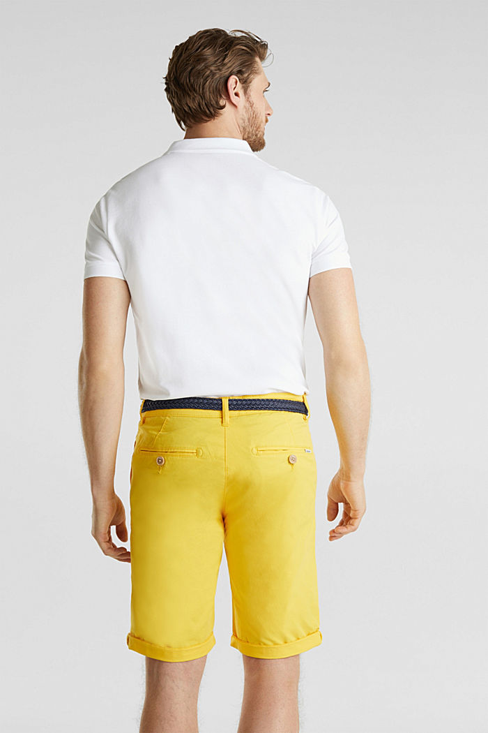 Stretch cotton shorts with a belt, YELLOW, detail image number 3