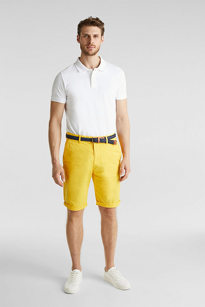 Stretch cotton shorts with a belt, YELLOW, detail image number 1