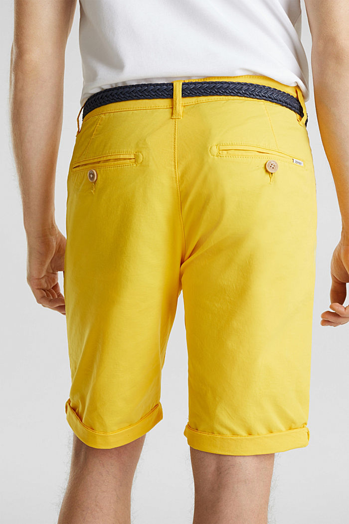 Stretch cotton shorts with a belt, YELLOW, detail image number 2