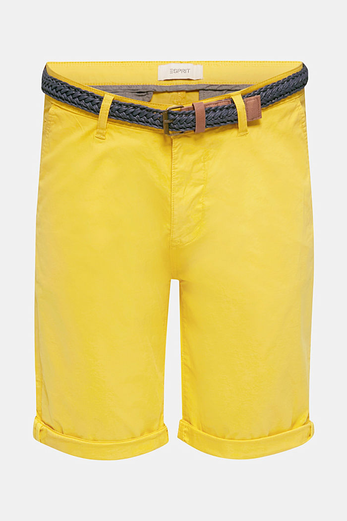 Stretch cotton shorts with a belt, YELLOW, detail image number 6