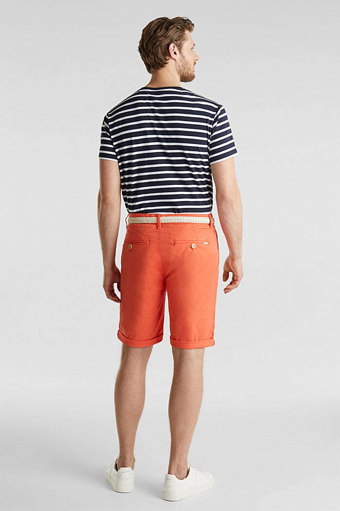 Stretch cotton shorts with a belt, ORANGE, detail image number 3