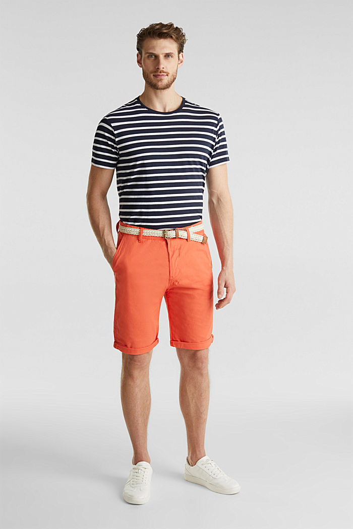 Stretch cotton shorts with a belt, ORANGE, detail image number 6