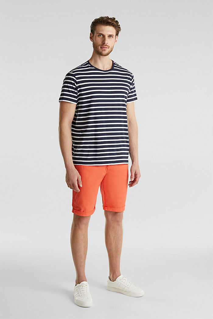 Stretch cotton shorts with a belt, ORANGE, detail image number 1