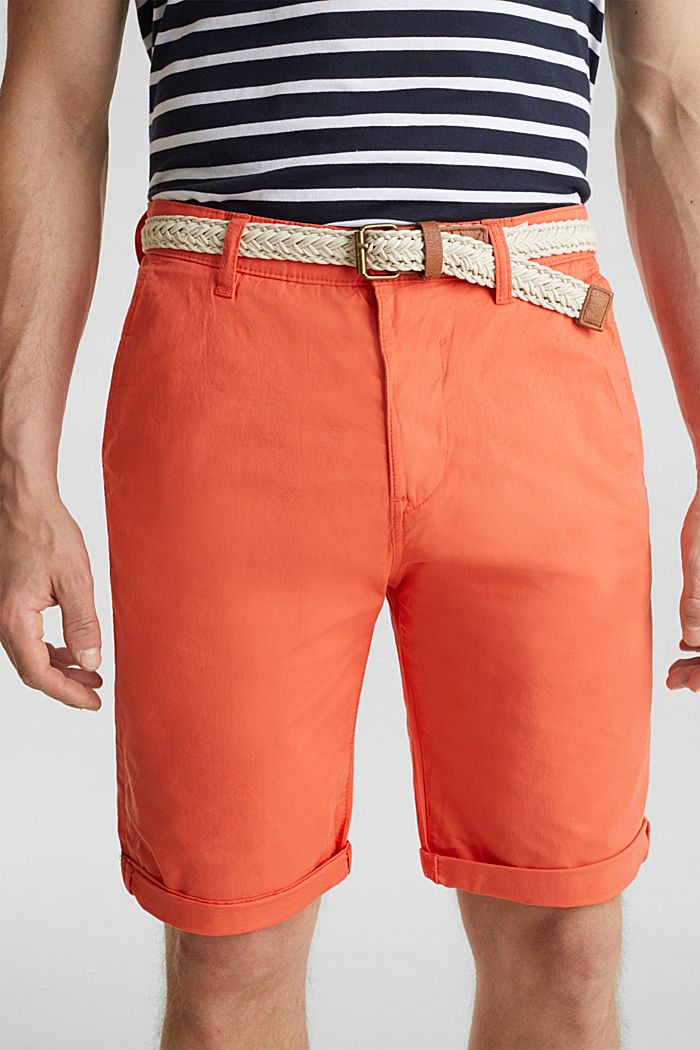 Stretch cotton shorts with a belt, ORANGE, detail image number 2