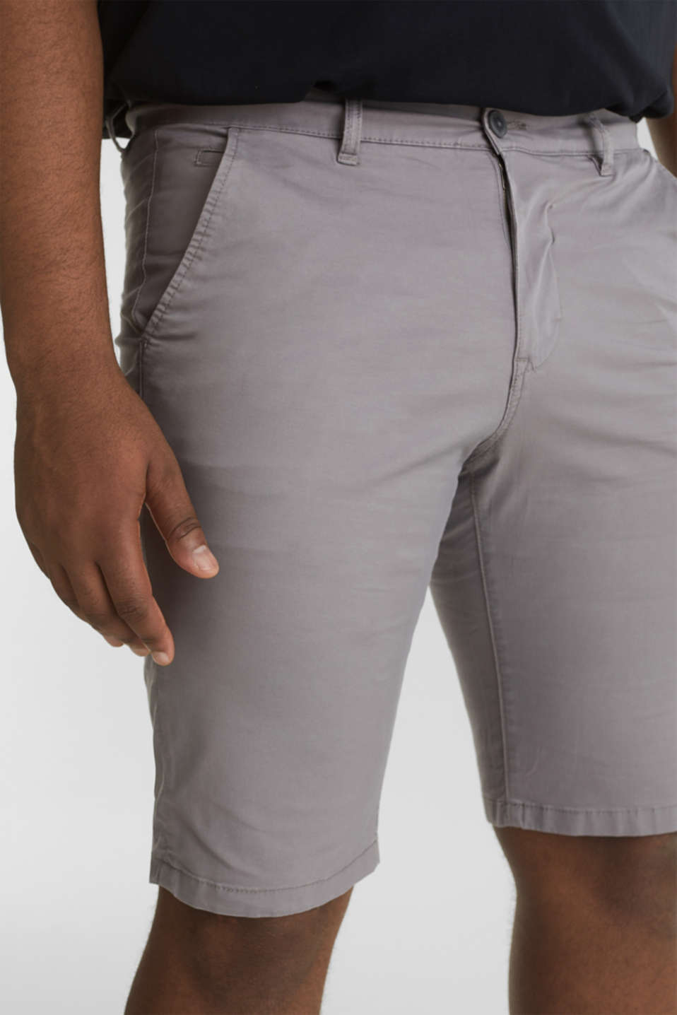 Chino shorts with organic cotton, GREY, detail image number 2
