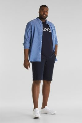 Chino shorts with organic cotton, NAVY, detail