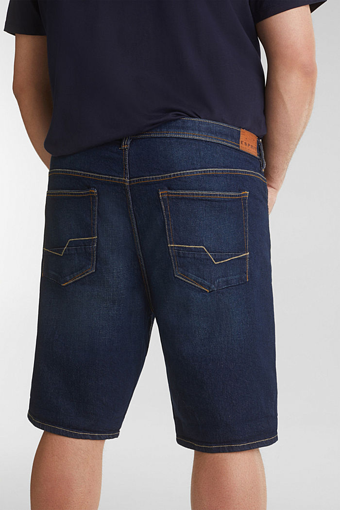 Bermuda in denim dal look lavato, BLUE DARK WASHED, detail image number 5