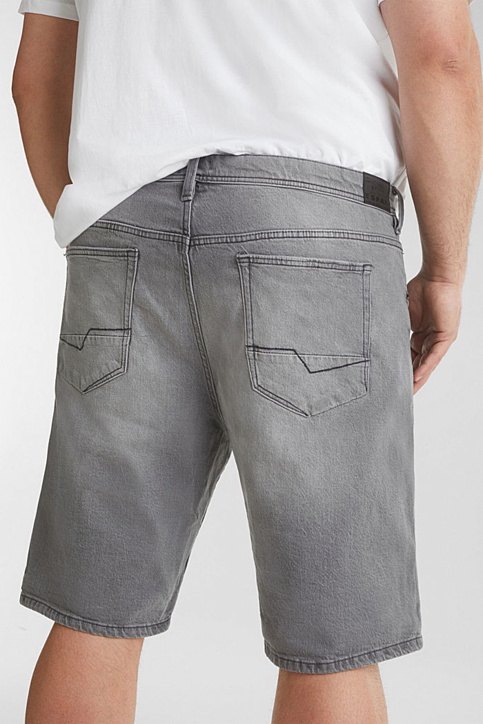 Denim Bermudas with organic cotton, GREY LIGHT WASHED, detail image number 6
