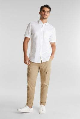 Short-sleeved shirt made of stretch cotton, WHITE, detail