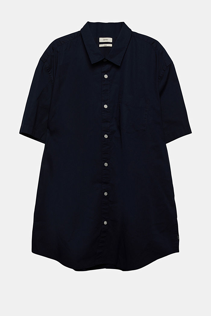 Short-sleeved shirt made of stretch cotton, NAVY, detail image number 0