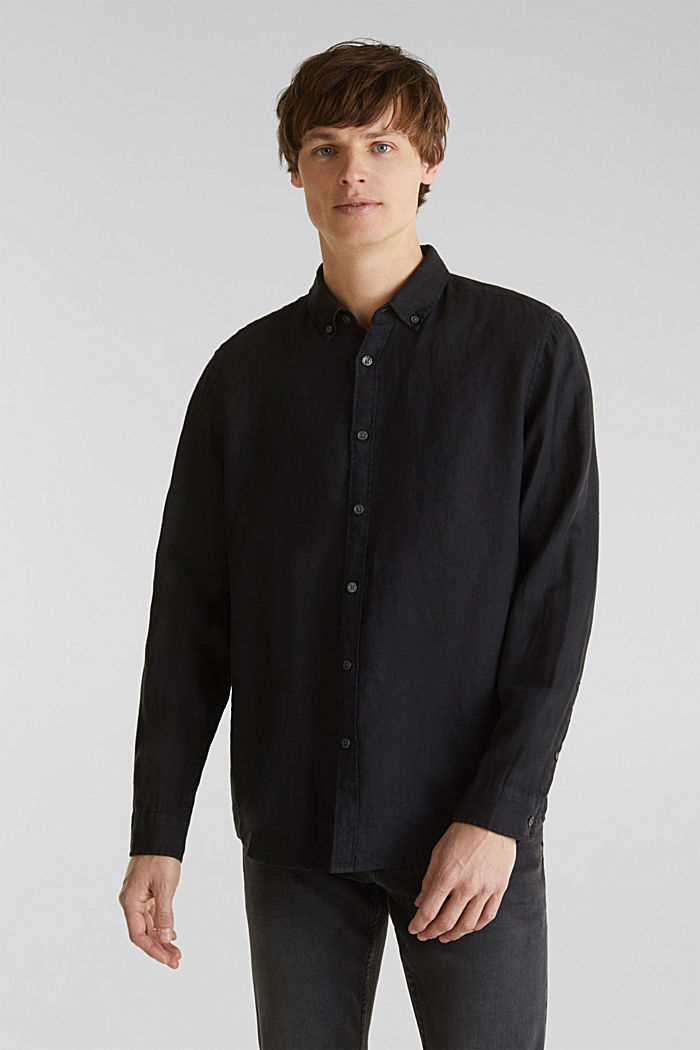 Button-down shirt made of 100% linen, BLACK, detail image number 0