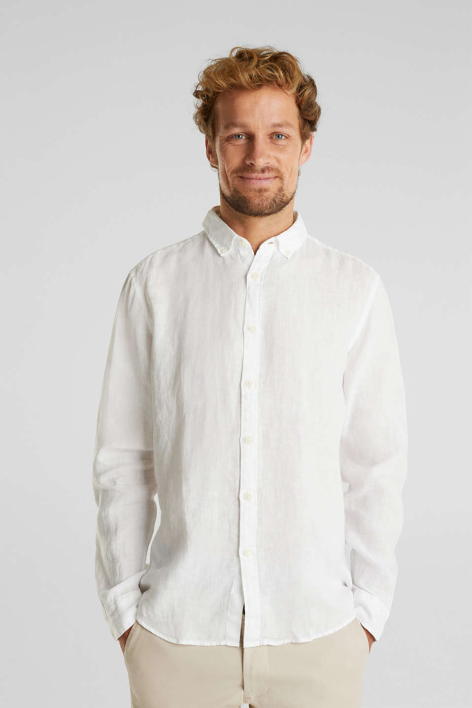 Esprit - Button-down-skjorta, 100% linne