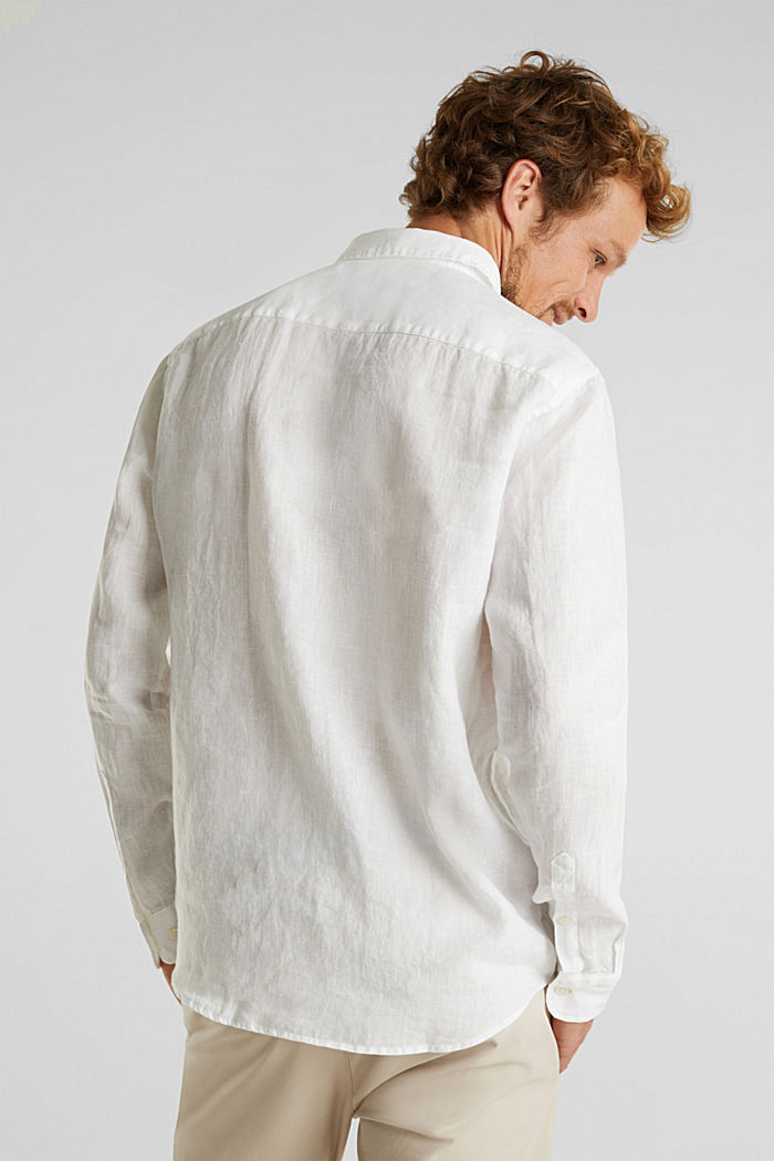 Button-down shirt made of 100% linen, WHITE, detail image number 3