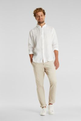 Button-down shirt made of 100% linen, WHITE, detail