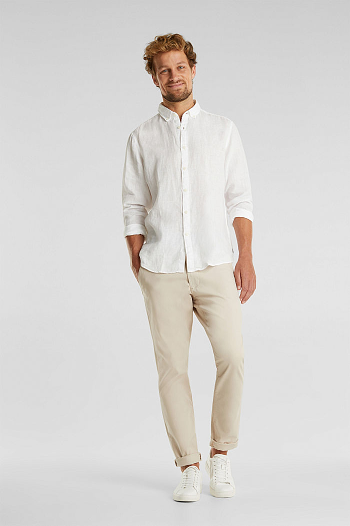 Button-down shirt made of 100% linen, WHITE, detail image number 1