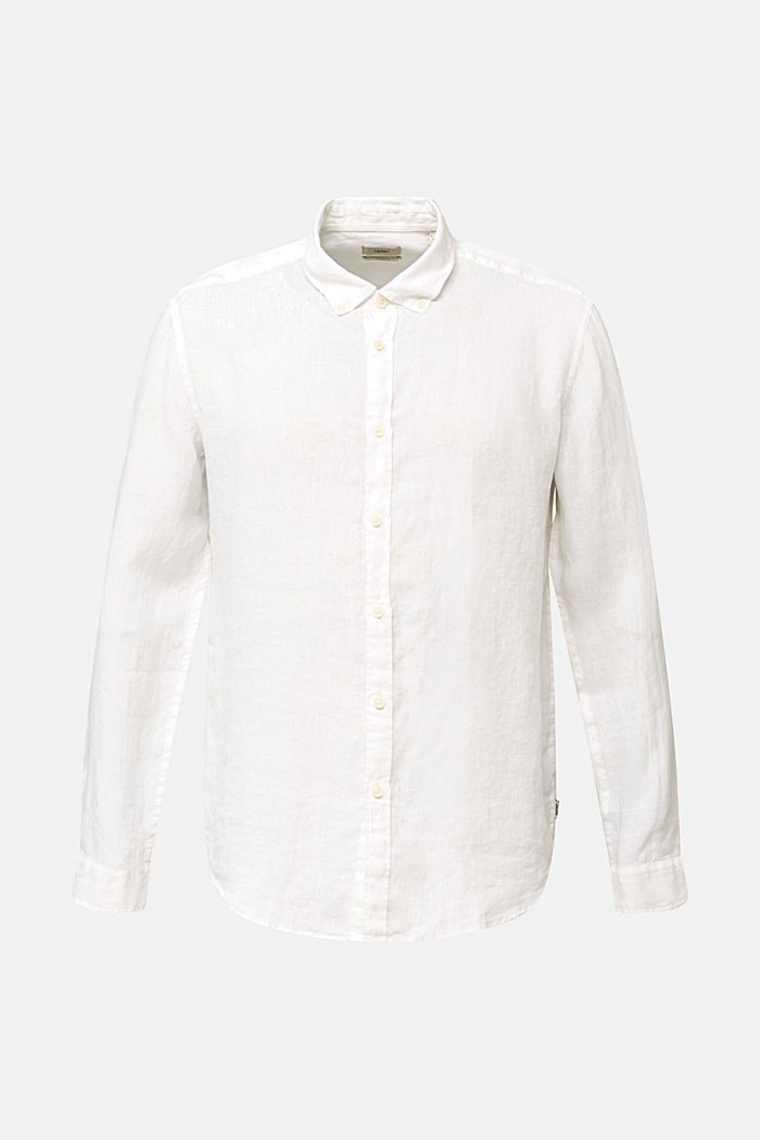 Button-down shirt made of 100% linen, WHITE, detail image number 7