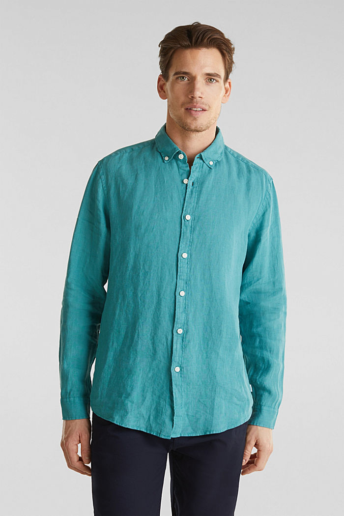 Camicia button-down in 100% lino, TEAL GREEN, detail image number 0