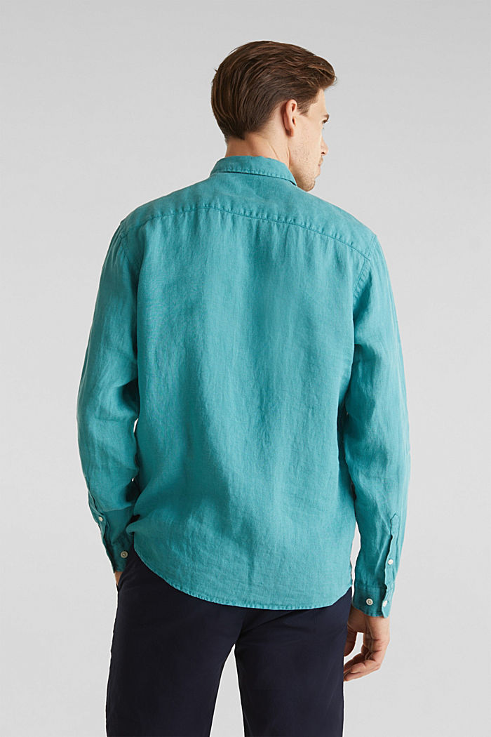 Camicia button-down in 100% lino, TEAL GREEN, detail image number 3