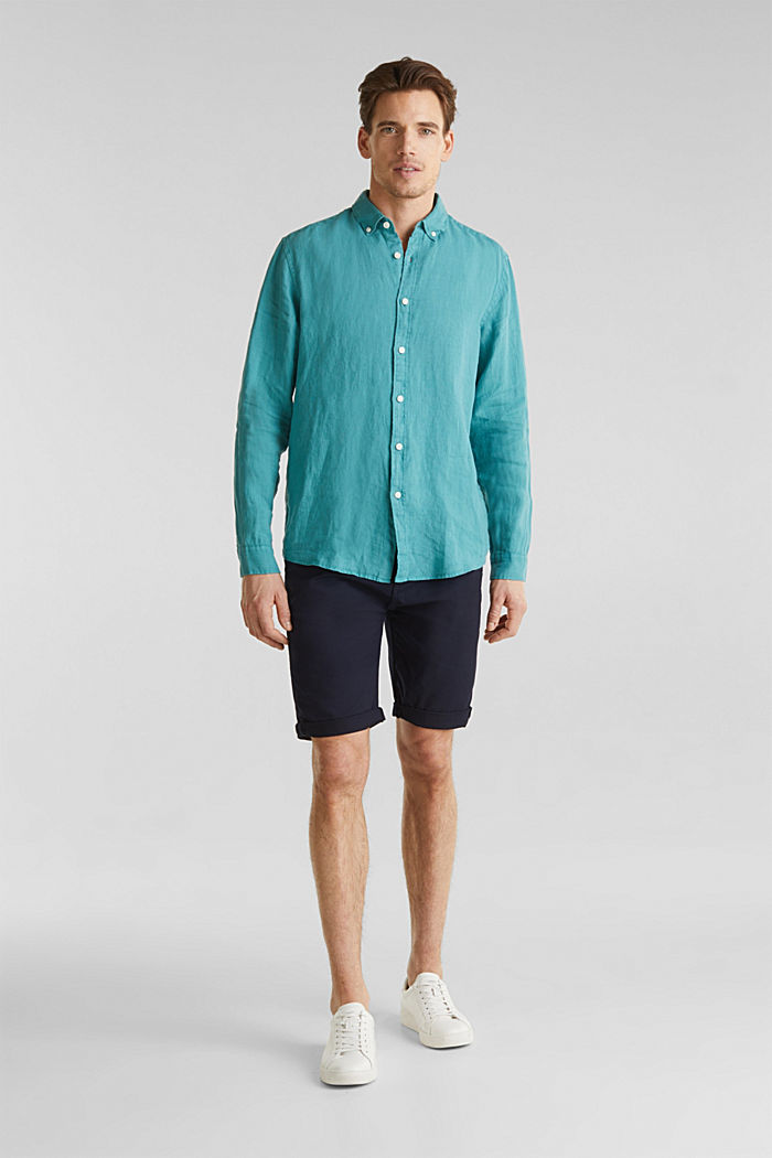 Camicia button-down in 100% lino, TEAL GREEN, detail image number 1