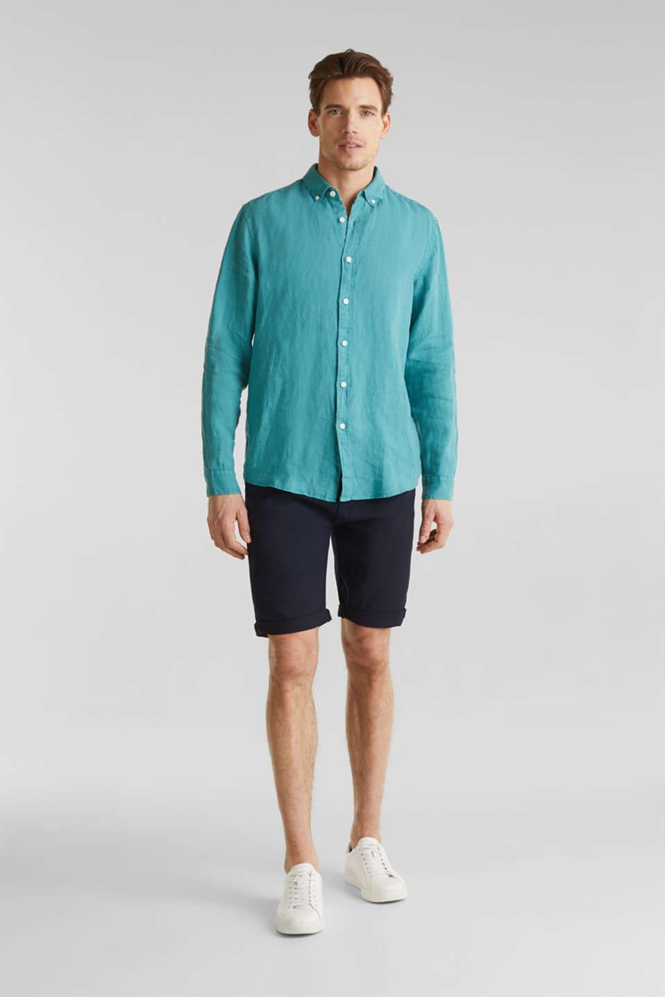 Button-down shirt made of 100% linen, TEAL GREEN, detail image number 1