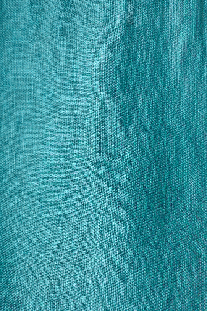 Camicia button-down in 100% lino, TEAL GREEN, detail image number 4
