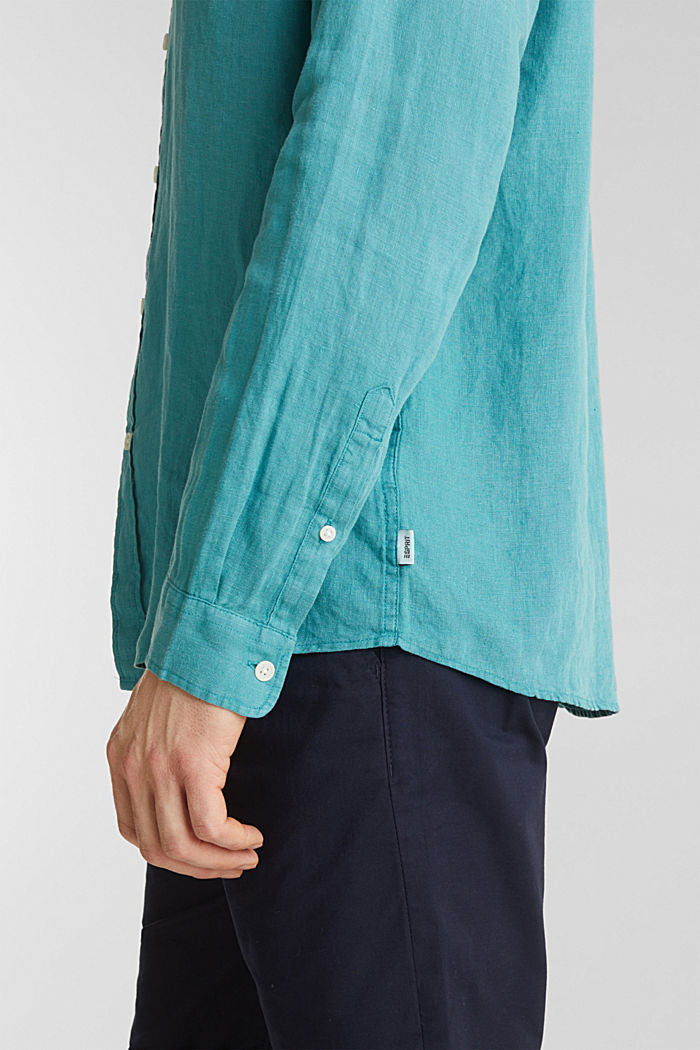 Camicia button-down in 100% lino, TEAL GREEN, detail image number 5