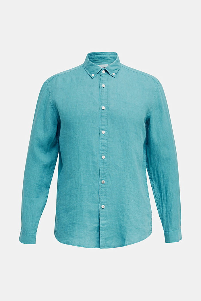 Camicia button-down in 100% lino, TEAL GREEN, detail image number 6