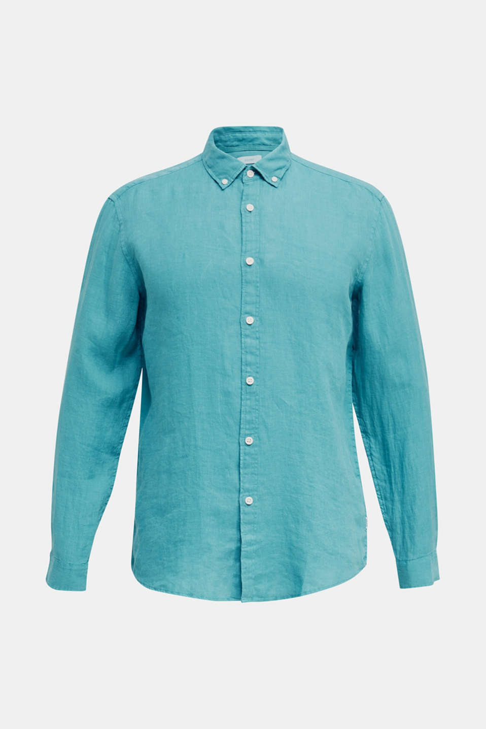 Button-down shirt made of 100% linen, TEAL GREEN, detail image number 6