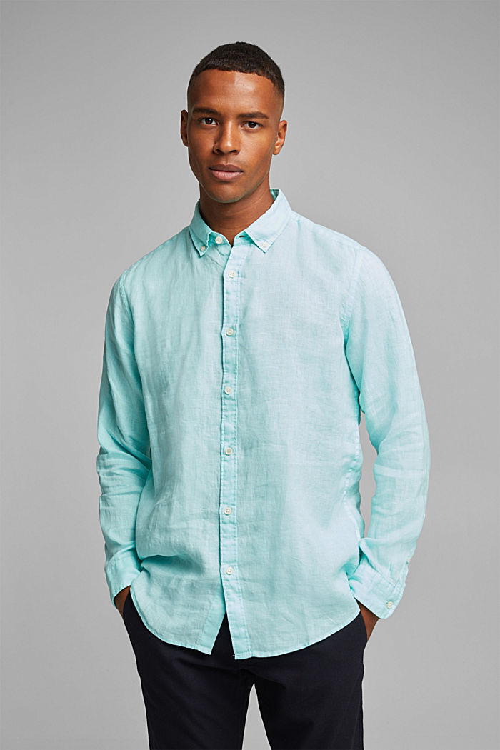 Button-Down-Hemd aus 100% Leinen, LIGHT AQUA GREEN, detail image number 0