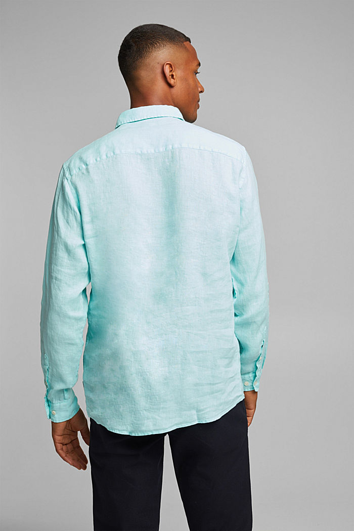 Button-Down-Hemd aus 100% Leinen, LIGHT AQUA GREEN, detail image number 3